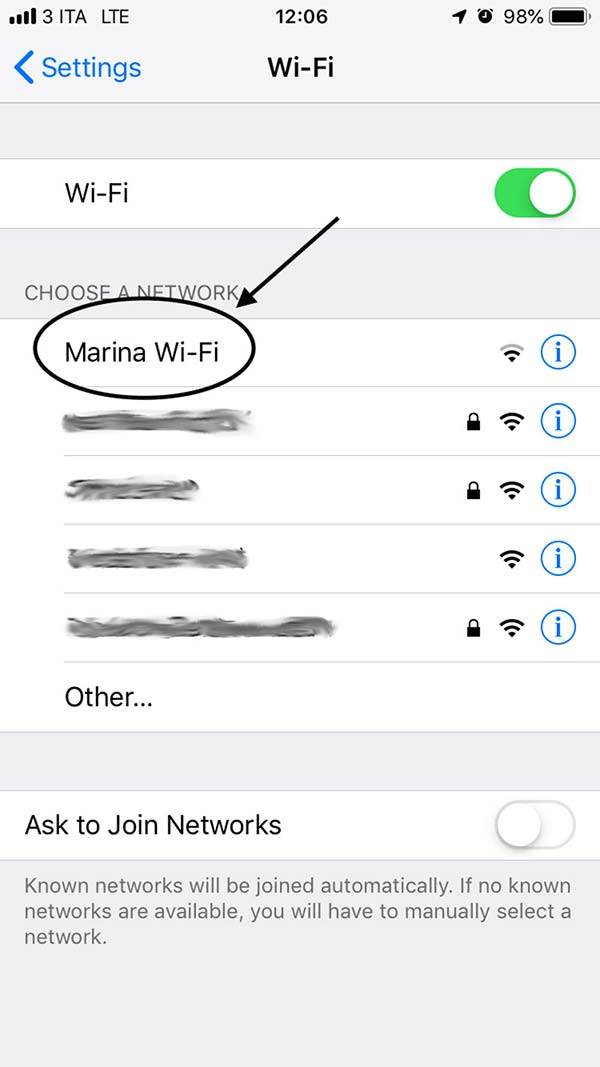 Selezionare la rete WiFi della Marina di Cattolica